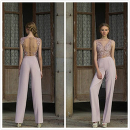 Wholesale Bamboo Cocktail - Modern Ladies Pantsuits See Through Illusion Long Evening Gown 2018 New Design Party Cocktail Dresses Sheer Back Prom Dress Cheap