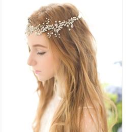 Жемчужный горный хрусталь лба тиара онлайн-Bling Свадебные аксессуары Свадебные тиары Hairgrips Кристалл Pearl Rhinestone заставки Jewelrys девушки Лоб волос Коронки ободки