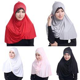 Wholesale Turban Muslim Hijab - 1 Pcs Muslim Hijab Islamic Jersey Turban Women Black Underscarf Caps Instant Head Scarf Full Cover Inner Coverings