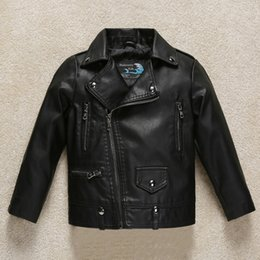 Wholesale stylish boys clothes - Kids Clothes PU Leather Girls Jackets 2018 Winter Stylish Boys Jackets Children Outwear For Baby Infant Zipper Coats Costume