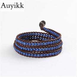 fc36911b1976 Auyikk Boho Pulseras con cuentas azules para mujer 3 wrap pulsera Cuero  envoltura joyería joyería de yoga bohemia Regalos bileklik pulsera boho de  cuero ...