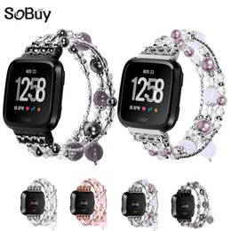Lxsmart fashion banda de ágata gema para fitbit versa reloj pulsera pulsera de joyería femenina reloj de pulsera correa de fitbit desde fabricantes