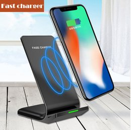 Wholesale Uk Apples - 2 Coils Wireless Charger Fast Qi Wireless Charging Stand Pad for Apple iPhone X 8 8Plus Samsung Note 8 S8 S7 all Qi-enabled Smartphones