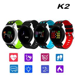 relojes de colores a prueba de agua Rebajas K2 IP68 a prueba de agua colorida pantalla OLED Smart Band presión arterial monitor de frecuencia cardíaca reloj inteligente pulsera pulsera de oxígeno de oxígeno de la sangre