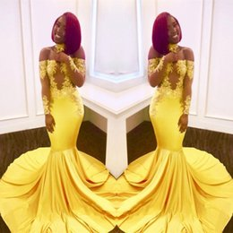 Wholesale Long Dresses Pictures Free - Free Shipping Yellow Mermaid Black Girls Prom Dresses 2018 Custom Made Sheer Long Sleeves Appliques Satin Evening Gowns Off Shoulders BA7903