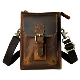 Wholesale Mobile Coffee - Vintage Genuine Leather Casual Multi-funciton Bag Men's Crossbody Shoulder Bag Messenger Waist Belt Pack Mobile Phone Case