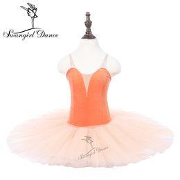 Laranja tutu saia menina on-line-Meninas Orange Ballet Leotards Tutu Vestido de Dança de Performance Infantil Praticar Ballet Tutu Bailarina Saias PPL18044C