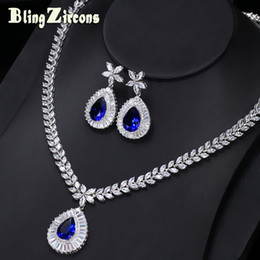 новые королевские украшения Скидка whole saleBlingZircons  New Big Water Drop Royal Blue Zirconia Stone Earrings Necklace Bridal Wedding Jewelry Sets For Women JS032