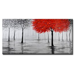 hand painted oil paintings Promo Codes - Mintura 1pc Oil Painting with 100% hand painted on canvas for livingroom -Abstract European Style Canvas Red Tree 7 size