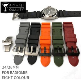 Wholesale Watchband 24mm - Wholesale 24mm Colorful Waterproof Rubber Silicone Watch Band Strap Pin Buckle Watchband Strap for Panerai Watch PAM Man PAM00616 with Tools