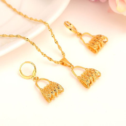 Wholesale Indian K - New Guinea Bilum Jewelry african women girls Gift 24 k Yellow Fine Solid Gold Filled bag Earrings Pendant Necklaces Papua