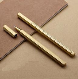 logotipos grátis Desconto Hexágono caneta de cobre assinatura de metal caneta canetas de bronze retro personalizado caneta neutro de negócios livre gravura logotipo