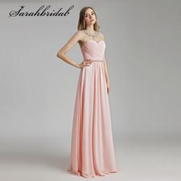 2018 Fotos reales vestidos de baile rosa claro cristales moldeados cuello  Sexy ver a través de largo gasa fiesta vestidos de noche LX510 vestidos  fiesta ... 0e4293f78d3f