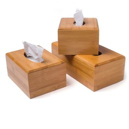 Wholesale hotel tissue - Creative simple Bamboo Storage Box Hotel Office Living Room Napkin Holder Paper Box Fashion Tissue Daily Necessities