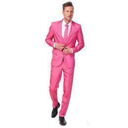 Argentina Alta calidad Groomsmen Notch Lapel Groom Tuxedos Hot Pink Men Trajes de Boda / Bailarinas de baile Best Man Blazer (Chaqueta + Pantalones + Corbata) G125 cheap tuxedo hot pink tie Suministro