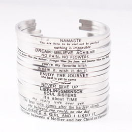 Wholesale hot stamp plate - 2018 Hot Stainless Steel Engraved Positive Inspirational Quote Hand Stamped Cuff Mantra Bracelet Bangle For Women Best Gifts