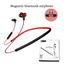 Wholesale Chinese Stockings - BT02 handfree neckband high quality bluetooth 4.2 supper bass denoise in ear headphone with microphone magnetic head 4 colors in stock
