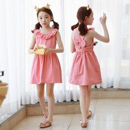 Wholesale Children Christmas Jumper Cotton - Everweekend Girls Ruffles Backless Bow Dress Pink Color Cute Children Summer Cotton Dress Vintage Children Jumper Dress