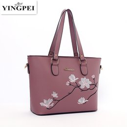 Wholesale Images Leather - YINGPEI Fashion National Embroidery Floral Image Women Leather Messenger Tote Bag Retro Flap Shoulder Bag Handbag Woman Lovers
