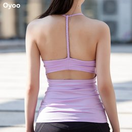 Wholesale Women Woven Shirts - Oyoo Women's Light Support Weave 1 Straps Back White Padded Yoga Tops Athletic Sports T-shirt Sleeveless Fitness Gym Tank Top