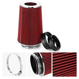 Wholesale Red Intake - Air Filter Universal Auto Cold Air Intake Adjustable Neck High Flow Filter Easy Installation Conical Style Round Tapered Free Shipping