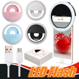 Wholesale Android Camera Flash - Selfie LED flash phone ring light USB charging camera selfie light for For iPhone samsung Android Retail Package