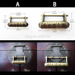 Wholesale Antique Style Furniture - Decor Vintage Beonze Antique Brass Chinese Old Look Style Furniture Jewelry Chest Wooden Box Cabinet Code Password Lock Padlock