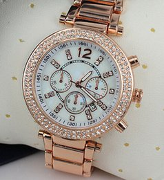 Wholesale michael watch women - Fashion Watches michael Quartz Watch Casual Full Steel Dial Style woman All over the sky stars Crystal Diamond Rome Word Dial Style Geneva