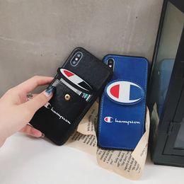 Bordar bolsa on-line-Moda Maré Marca Embroidered Leather Wallet Clutch Pouch Case Impresso Carta Tampa Traseira Suporte Coldre Escudo Do Telefone para o iphone XS Max XR 6