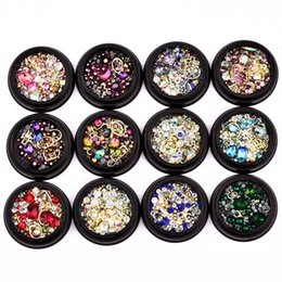 Wholesale Colorful Art - Colorful Nail Art Decoration Charm Gem Beads Rhinestone Hollow Shell Flake Flatback Rivet Mixed Shiny Glitter 3D DIY Accessories