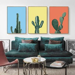 Wholesale Bedroom Framed Wall Paintings - 2018 cactus plants Wall paintings landscape Art Canvas Posters Prints Painting Wall Pictures for Bedroom Home Decoration