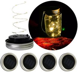 Luces solares de plata de jardín online-Llevado Solar Powered Mason Jar Leds Light 10Led String Lights en Silver Tapas para Mason Glass Jars Christmas Garden Party Lights HH7-966