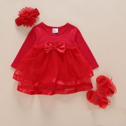 Wholesale 12 Months Girl Red Dress - 3 pcs  lot Baby dress children's clothing spring fashion suit for girls baby queen dress red and pink