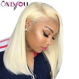 613 Blonde Lace Front Wigs 130 Destiny Brazilian Straight Remy Lace Front Human Hair Wigs Bob For Black Women 10 16 Inch Wholesale Deals