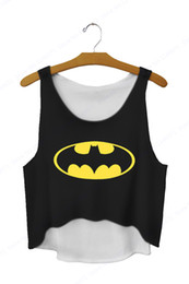 Wholesale womens orange tank top - Black Tanks Top Sleeveless Crop Vest Loose Singlet The Dark Knight Yellow Smile Running Vests Womens Sexy Camisole Top
