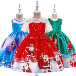 Xmas Bébés filles De Noël cerf imprimé robe robe Enfants Père Noël robes de princesse 2018 fashion Boutique Enfants Vêtements 10 couleurs C5298 ? partir de fabricateur