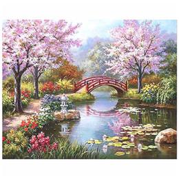 Ciliegia adulto online-Dipingi con i numeri Cherry Blossom Tree for Adults Cornici per pittura digitale fai-da-te incorniciate o senza cornice con pennelli acrilici per pigmenti