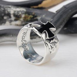 Wholesale Skull Rings 925 Silver - 925 Sterling Silver High Quality Cool Fashion Cross Ring Man Black Oil Epoxy Punk Style Skull Men Ring