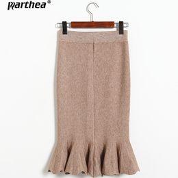 Wholesale Green Fishtail Skirt - Parthea Autumn Winter fishtail knitting Wool Hip Skirt Women Stretch Female Slim Thin Waist Elegant Skirts Solid Color Skirt