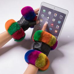 Deutschland Frauen-Winter-Wärmer-Handgelenk-Handschuhe echtes Leder-Rex-Kaninchen-Pelz-Fingerlose treibende Handschuhe Plaid-Schaffell-Handschuh-Frauenhandschuhe Versorgung