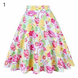 694e1f25bd008 New Summer Black Women High Waist Plus Size Floral Print Polka Dot Ladies  Summer Skater 50s Vintage Midi Skirt