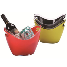 Wholesale ice bucket champagne - Bar KTV Essential Ice Bucket Plastic Double Deck Champagne Buckets Gold Ingot Shaped Red Wine Barrel Multi Function Ices Barrels 35hy 2Y
