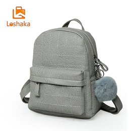 Wholesale Casual Dress For Large Women - Loshaka Women Casual Style Backpacks With Fur Ball For Girls Large-Capacity School Back pack Ladies New Fashion Small Backpack