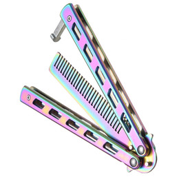 Wholesale beard knife - Rainbow Hair Foldable Comb Stainless Steel Practice Training Butterfly Knife Comb Beard & Moustache Brushes Hairdressing Styling Tool