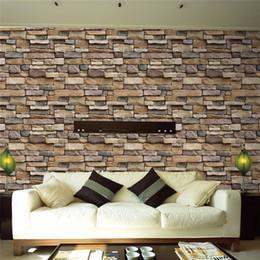 2019 carta da parati di pietra Commercio all'ingrosso 1 PC 45 * 100cm Autoadesivo 3D Simulazione Vein Rock Stone modello Brick Wallpaper sfondo decorazione adesivi murali carta da parati di pietra economici