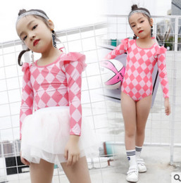 Wholesale Tutu Swimsuits - Girls plaid falbala fly sleeve lace-up Bows backless siamese swimwear+lace tulle tutu skirts 2pcs sets children spa princess swimsuit Y7065