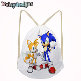 sonic games Coupons - Sonic the Hedgehog Game Printed School Cartoon Small Bags for Boys Schoolbags for Teens Kids Shoe Pocket String Shoulder Bag