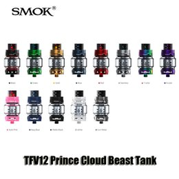 Wholesale Tube Bulbs - Authentic Smok TFV12 Prince Cloud Beast Tank New Colors 8ml Big Capacity Top Filling Airflow Control Atomizers With Bulb Glass Tube
