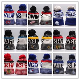 Wholesale Hats For Running - Winter Beanie Hats for Men Knitted NHL Wool Hat Gorro Bonnet with San Jose Sharks Beanie Boston Bruins Pittsburgh Penguins Winter Warm Cap
