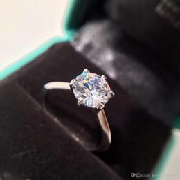 anello di fidanzamento stile coreano Sconti Real 925 Sterling Silver CZ Diamond RING con LOGO design semplice per gioielli di fidanzamento anello nuziale per le donne PS5461